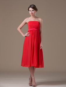 Strapless Red Maternity Bridesmaid Dress
