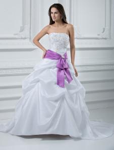 Fashion Ball Gown Strapless Beading Taffeta Wedding Dress With Sash