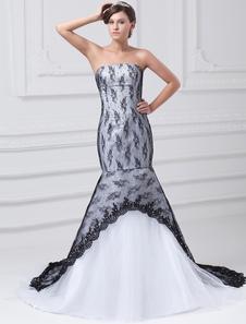 Black Mermaid Wedding Gown Strapless Lace Wedding Dress