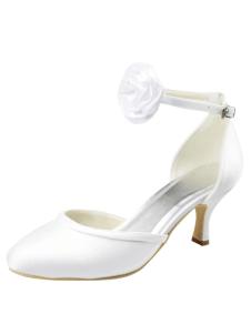 Concise Antique Design Stiletto Heel Round Toe Silk And Satin Cute Women's Wedding Shoes