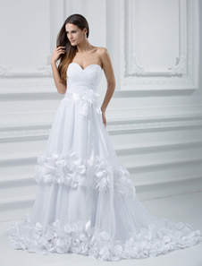 Romantic White Tulle A-line Sweetheart Celebrity Wedding Dresses