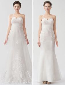 Panel Train Sweetheart Sheath Ivory Bridal Wedding Dress with Beading