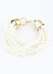 Pearl Wedding Bracelet White Alloy Multi Strand Vintage Bridal Bracelet
