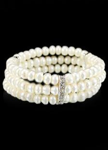 Pearl And Crystal 3 Row Stretch Bracelet Wedding Bridal Jewelry