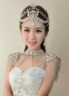 Bridal Shoulder Necklace Rhinestone Chains Alloy Statement Bridal Necklace