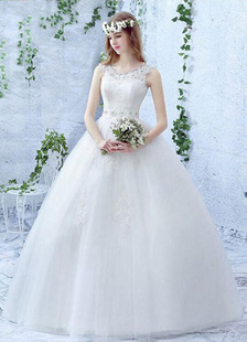 Ivory Wedding Dress Ball Gown Lace Pearl Rhinestone Lace-up Floor Length Bridal Dress