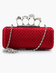 Finger Ring Clutch Handbag Skull Rhinestone in 3 Colors with Detachable Chain