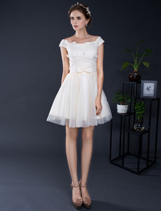 Short Wedding Dress Lace Applique Off-the-shoulder Tulle A-line Lace-up Mini Bridal Dress Bow Sash Homecoming Dress