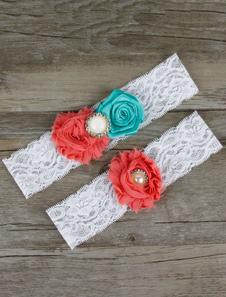 White Wedding Garters Lace Pearls Flowers Detail Bridal Garter