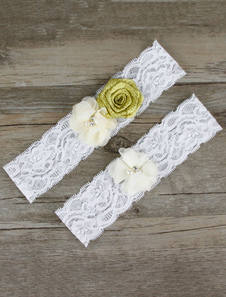 White Wedding Garter Lace Flowers Beading Bridal Accessories