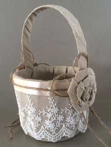 Flaxen Cotton Linen Lace Flowers Wedding Flower Basket