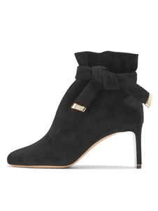 Chunky Heel Booties Black Round Toe Suede Knotted Slip On Boots For Women