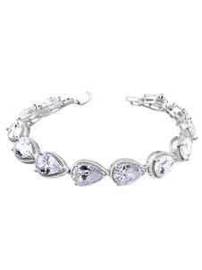 White Beaded Bracelet Bridal Teardrop Cubic Zirconia Wedding Bracelet Jewelry