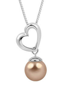 Pearl Wedding Necklace Brown Heart Pendant Bridal Necklace Jewelry