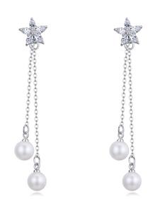 Pearl Drop Earrings Wedding Silver Bridal Double Pendant Earrings
