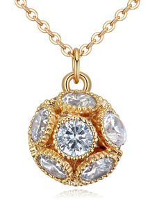 Gold Wedding Necklace Beaded Cubic Zirconia Bridal Lucky Ball Pendant Necklace