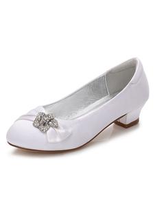 White Flower Girls Shoes Rhinestones Chunky Heel Round Toe Satin Pumps