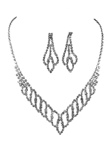 Wedding Jewelry Set Silver Rhinestones Bridal Necklace With Earrings