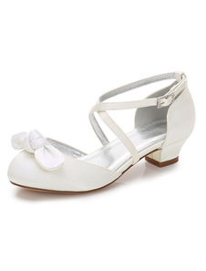 White Girl Shoes Wedding Flowers Shoes Round Toe Bow Criss Cross Girls Party Shoes