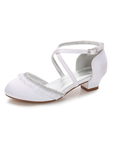 Wedding Flowers Girl Dress White Girl Shoes Round Toe Rhinestones Criss Cross Party Shoes