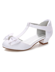 White Girl Shoes Party Shoes Round Toe Bow T Type Wedding Flower Girl Shoes