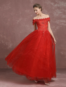 Red Wedding Dress Ball Gown Lace Beading Bridal Dress Off The Shoulder Sequins Floor Length Maxi Princess Summer Wedding Dresses 2017