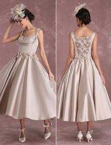 Champagne Wedding Dresses Vintage Satin Short Bridal Gown Square Neck Flowers Applique Illusion Princess Bridal Dress In Tea Length Milanoo
