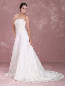 White Sweet Heart Embroidery Wedding Dress