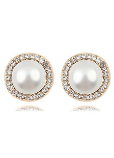 Sweet Metal Round Shiny Rhinestone Pierced Pearl Ear Studs