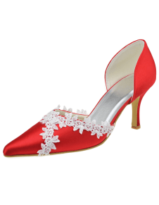 Pretty Red Silk And Satin Lace Pointed Toe Bridal Pumps