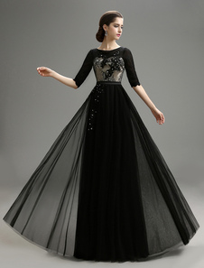 Chiffon Black Wedding Dress Applique Lace Dress