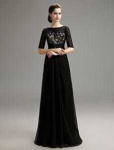 A-Line Black Wedding Dress with Half Sleeves Lace & Chiffon Dress