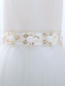 White Sequined Bridal Wedding Sash