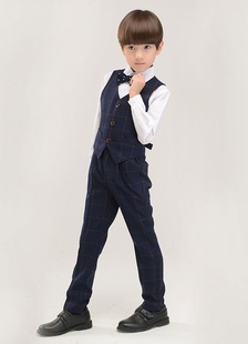 Black Boy's Suit Bow Tie Polyester Children's Suit