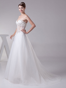 Illusion Waist wedding dress Backless Sweetheart Beading Lace Applique A-Line Tulle Court Train Brail Dress