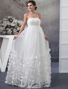 Strapless Wedding Dress Pleated A-line Beading Pearls Floor Length Tulle Flower Evening Dress