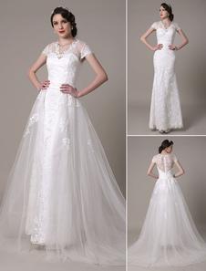 Sheath Wedding Dress V-Neck Lace Décor Train Detachable Chaple Train Bridal Dress Milanoo