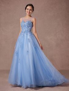 Blue Lace Wedding Dress Tulle Bridal Gown Illusion Neckline Applique Beading A-line Pageant Dress Chapel Train Luxury Quinceanera DressDress
