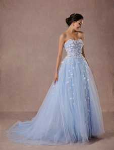 Blue Wedding Dress Lace Tulle Chapel Train Bridal Gown Sweetheart Strapless A-Line Luxury Princess Pageant Dress