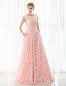Pink Wedding Dress Lace A-line Court Train Sleeveless Lace-up Bridal Gown With Hand Pockets