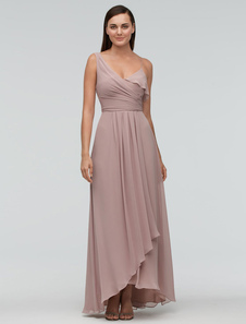 Blush Bridesmaid Dress Chiffon Maxi Wedding Party Dress One-shoulder Asymmetrical A-line Evening Dress