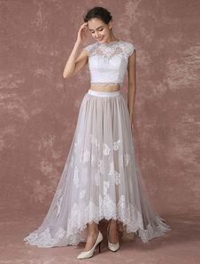 Crop Top Lace Wedding Dress High Low Tulle Bridal Gown Back Design Court Train Bridal Dress With Illusion Neck Milanoo