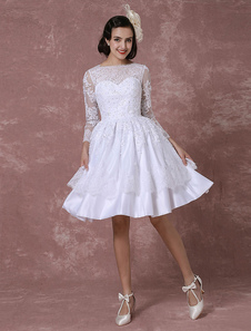 Summer Wedding Dresses 2017 Short Vintage Bridal Dress Lace Applique Long Sleeves A-line Beading Bateau Reception Bridal Gown Milanoo