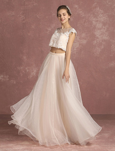 Summer Wedding Dresses 2017 Lace Crop Top Organza Bridal Gown Illusion Sleeveless Floor Length Bridal Dress In 2 Piece