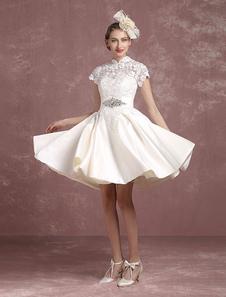 Short Wedding Dress Vintage Lace Bridal Gown Mandarin Collar Satin Backless Short Sleeve Knee Length Bridal Dress Milanoo
