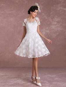 Vintage Wedding Dresses 2017 Short Lace Applique Bridal Gown Short Sleeve Illusion Bridal Dress Milanoo