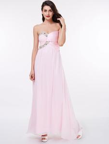 Long Bridesmaid Dresses Strapless Beading Chiffon Soft Pink Bridesmaid Dress