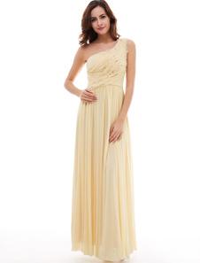 Daffodil Bridesmaid Dresses One Shoulder Chiffon Sequins Pleated Long Bridesmaid Dresses