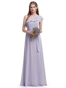 Lilac Bridesmaid Dress One Shoulder Ruffles Sash Chiffon Floor Length Wedding Party Dress