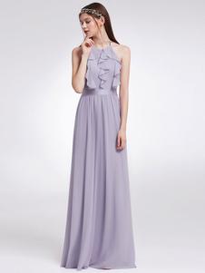 Long Bridesmaid Dress Halter Ruffles Lilac Ruffles Chiffon Backless Floor Length Wedding Party Dresses